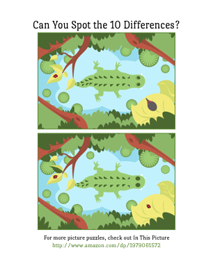 Can you spot the 10 differences in this alligator picture?