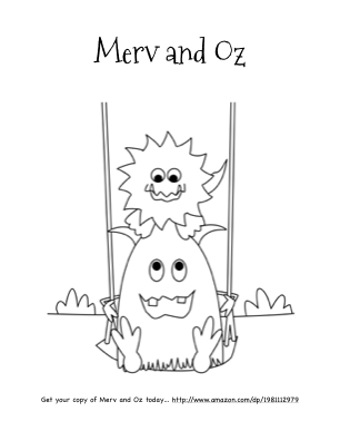 Merv and Oz, a cute monster coloring page based on the Merv the Monster book series for children.